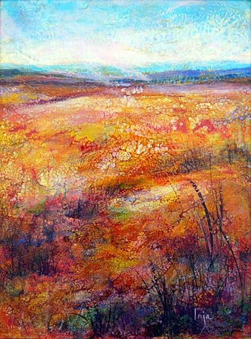 Rhythm of Life, Encaustic and Oil, Abstract Landscape