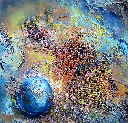 mixed media painting, oil, saw dust