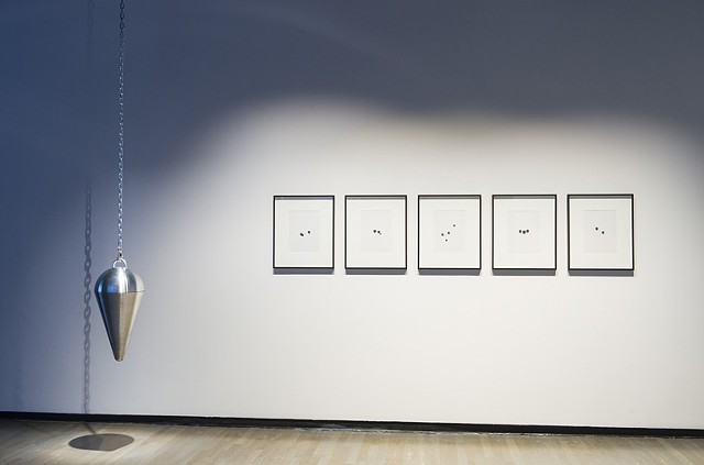 Installation view: Pendulum I (the Dowser's Pendulum) and Orphan Well Readings
