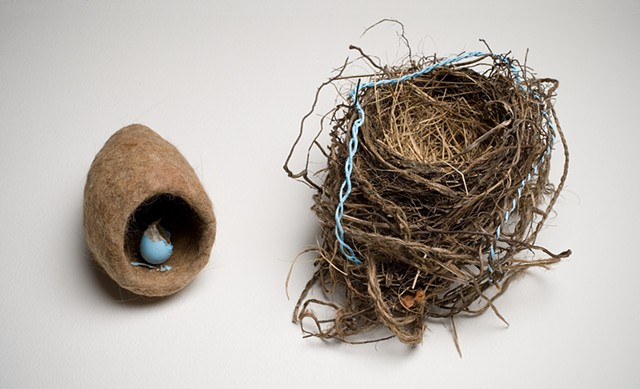 Felted cat fur, nest and egg