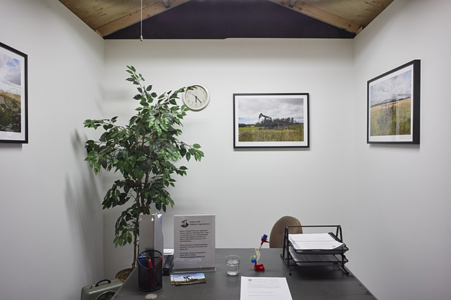 Inside the Orphan Well Adoption Agency (OWAA) offsite office at TRUCK Contemporary Art. An OWAA representative is available to meet with the public every Saturday throughout the exhibition to facilitate orphan well adoptions.