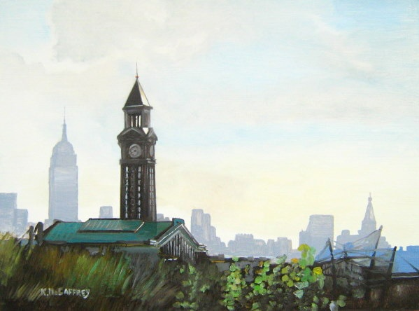 Hoboken Terminal train tower and Empire State Building