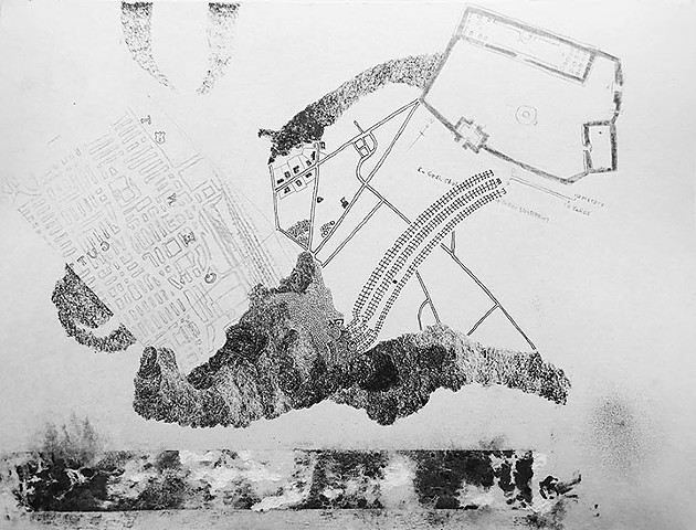 GediGuten, a drawing in ink and graphite, a kind of landscape