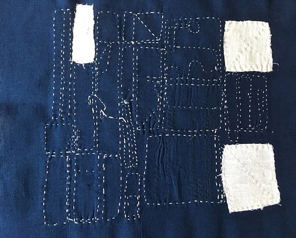 Boro Inspired Apron #2 For Blue & White Project (Back View)  Wearable Page