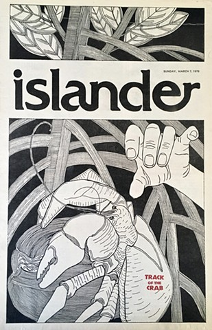 """Track of the Crab""  Illustration Cover of the ""Islander"" (Sunday magazine) for the ""Pacific Daily News,"" Guam"
