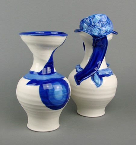 "Blue & White Project ""Monsieur und Madame""  An example of pottery by Martina M. Thies of Berlin, Germany"