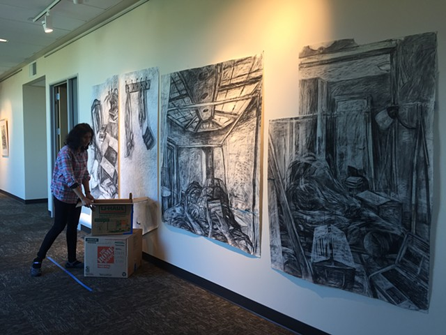 Displacement, installation shot, 6'x14'x2', charcoal, ink, acrylic and tape on paper and boxes