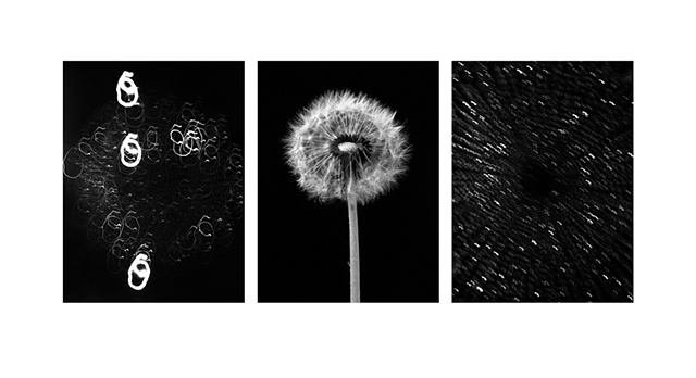 Three image composite from black and white negatives