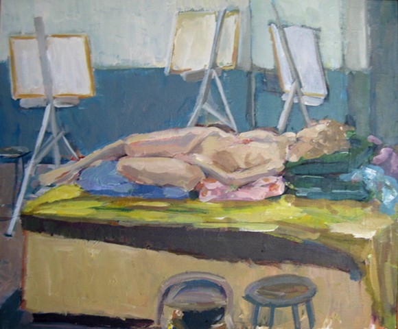 Reclining Figure with easels