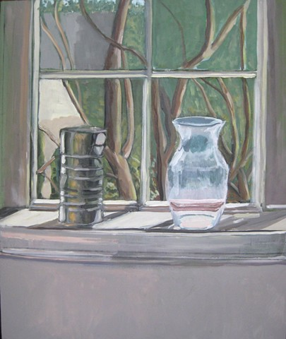 Can and Vase on Window Sill