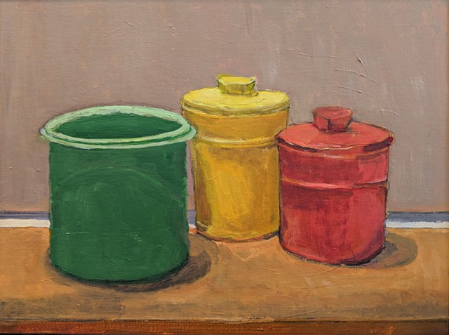 Still Life with Three Plastic Jars on drafting table