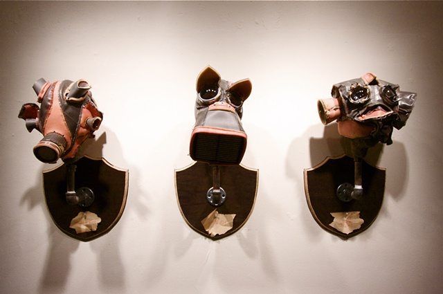 """Denial: See No Evil, Hear No Evil, Speak No Evil"" Sculpture by Ryan Farrell"