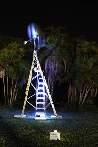 Static Sculpture, wind generator, ladders, exit sign