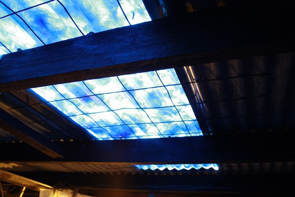 Tropicana (transparent sections of gallery roof covered in blue plastic bags)