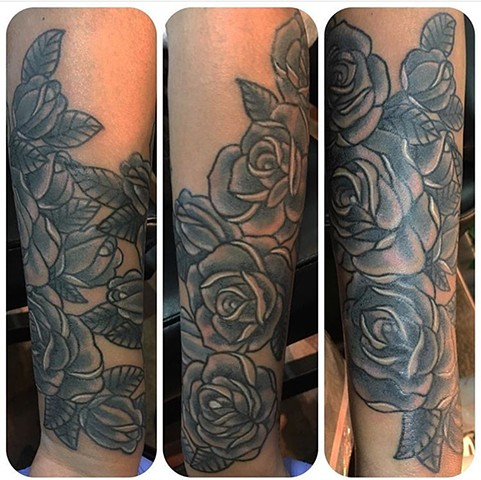 Traditional Black and Gray Roses Forearm Tattoo
