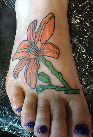 Daylily Foot Tattoo