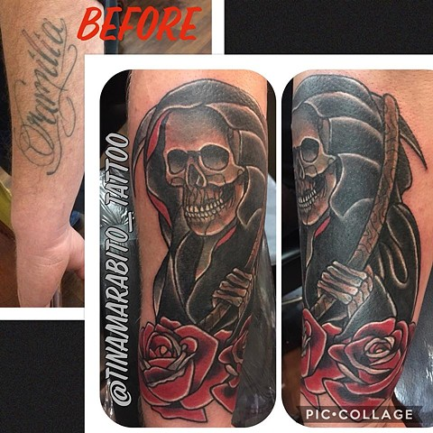 Traditional Reaper Tattoo Cover-up