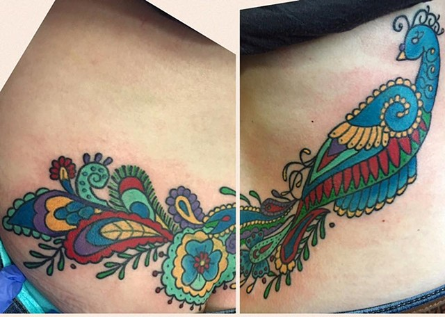 Traditional Peacock Cover Up Tattoo
