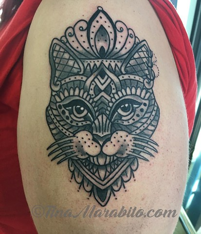 Mehndi Cat Tattoo