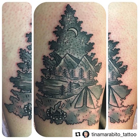 Black and Grey Camping Tattoo