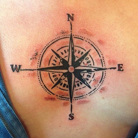 Distressed Compass Tatoo