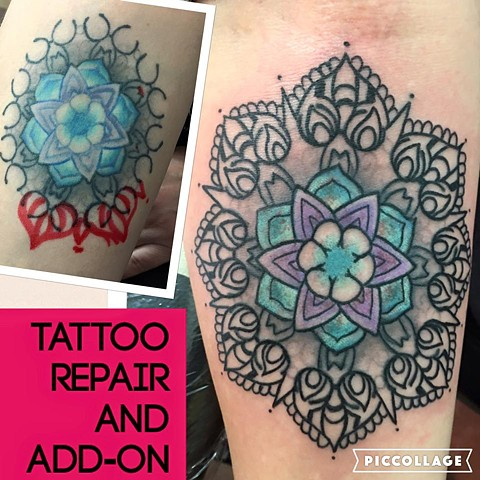 Mend Lace Flower Tattoo Repair