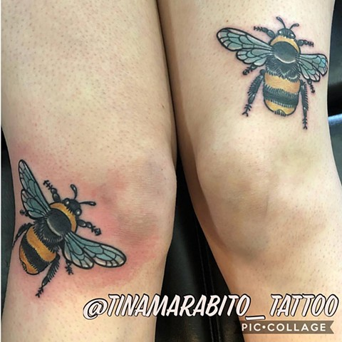 Neo Traditional Bees Knees Tattoo