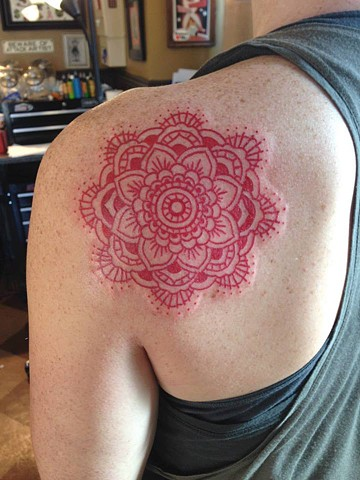 Red Mandala Tattoo on Shoulder