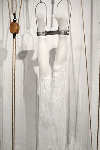 paraffin wax legs, pulleys, inversion, lauren carter