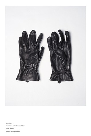 Item No. 013 Description: Leather Gloves with Bow Found: 31/01/16  Location Gardiner Museum