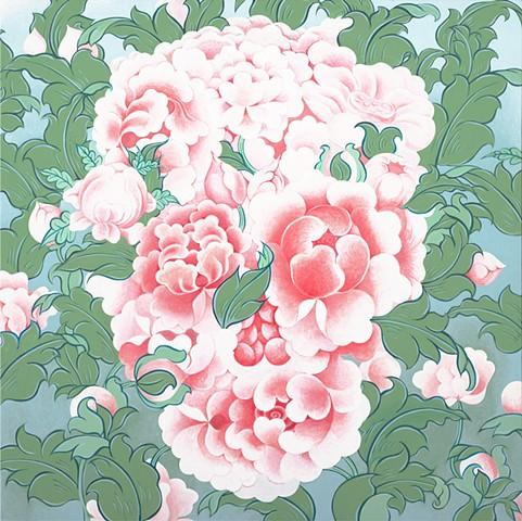 Nine Flowers Peony Skull