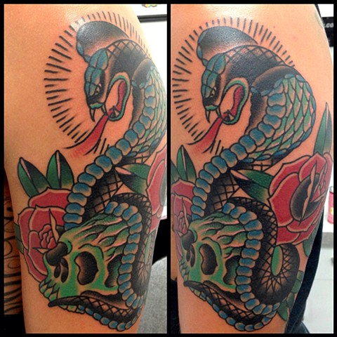 snake skull tattoo arm rose color traditional