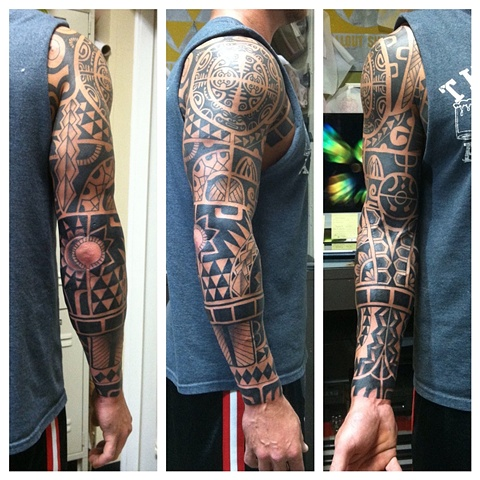 polynesian traditional tattoo black by shawn patton