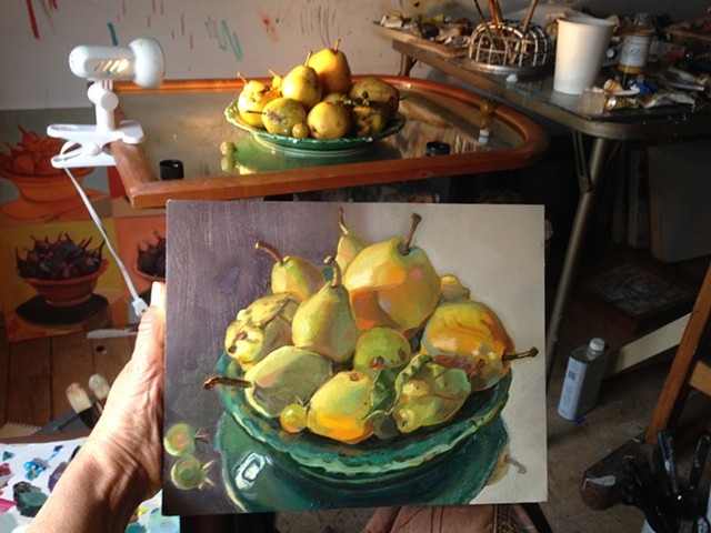 Observational still life of pears