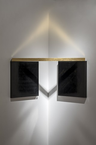 Untitled (Corner Graphite with Gilded Wood)