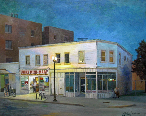 night scene of old frame building housing a convenience store, with customers coming and going by Mary Phelan