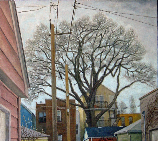 View of Chicago alley with garages, trees, electric wires, in very early spring by Mary Phelan