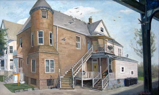 pigeons roosting on converted boarding house with many stairs and doors near el tracks by Mary Phelan