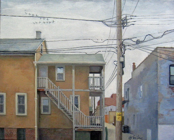 alley view of old coach house with factories, electric wires, and flying geese by Mary Phelan