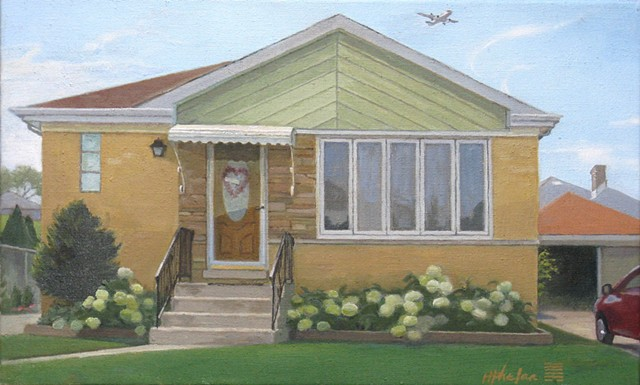 "Middle-class Chicago bungalow with ""Annabelle"" hydrangeas and airplane."