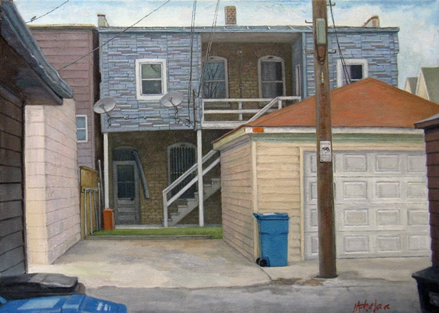 Chicago alley with garages, garbage cans, satellite dishes, backs of buildings with small lot by Mary Phelan
