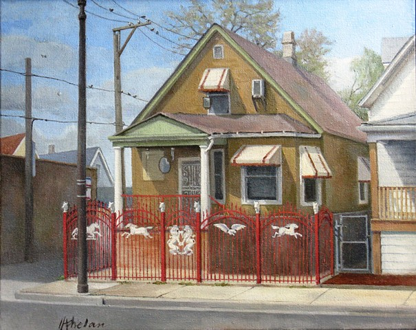 Old Chicago house alongside alley with multiple fences, one decorated with horses, eagles, and lions, with birds on electri wires and windchimes and mirrors for protection from evil spirits, by Mary Phelan.