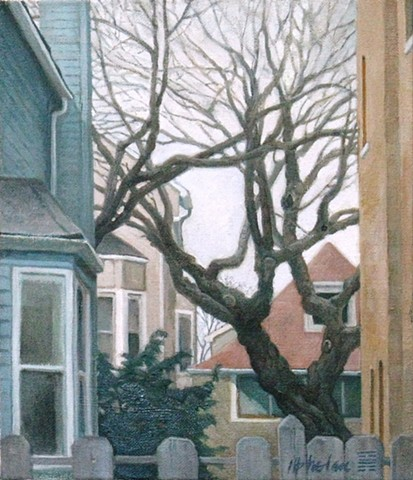 bare trees severely cropped by houses and fences by Mary H. Phelan