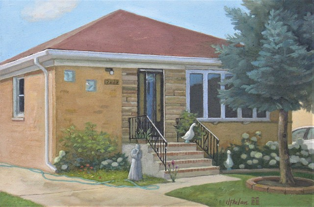 Middle-class Chicago bungalow with St. Francis.