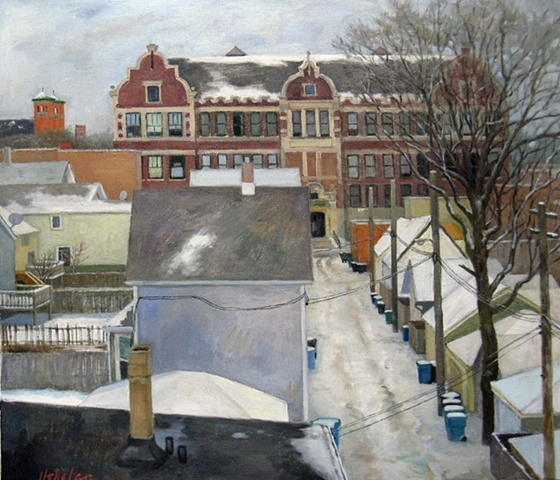 view from el tracks of Chicago alley with rooftops, trees and local school after winter snowfall by Mary Phelan