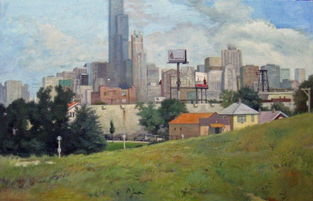 view of downtown Chicago from Bridgeport neighborhood (old quarry) by Mary Phelan