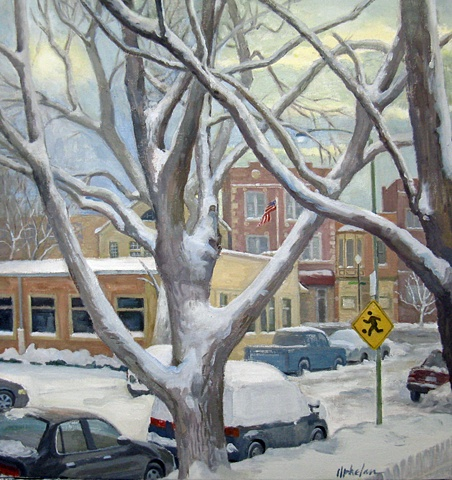 street viewed  through tree limbs after heavy snow by Mary Phelan