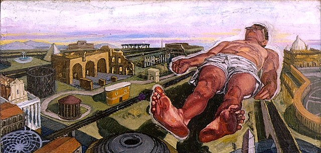 painting of giant figure floating over Rome by Margaret McCann
