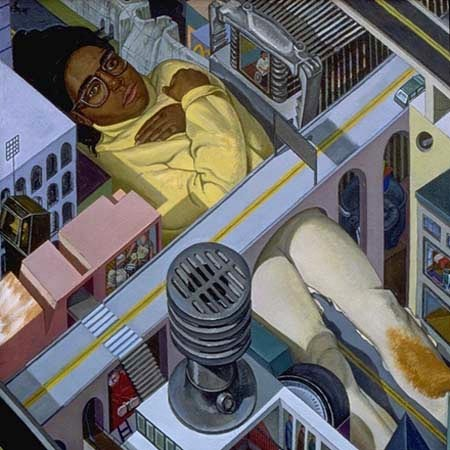 painting of giant figure in NYC cityscape (title from Grandmaster Flash Furious 5) by Margaret McCann
