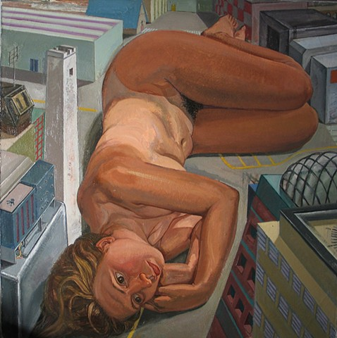 painting of giant figurec in cityscape by Margaret McCann